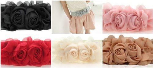 Vintage Women Girl Double Rose Flower Buckle Elastic Wide Waist Corset Belt Band